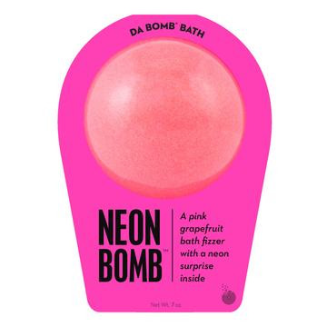 Watch carefully as this pink grapefruit fizzer dissolves, because there's a neon surprise inside. Perfect for adults and kids alike. (Everyone loves surprises.) Use one bomb per bath. Your bath bomb will arrive in our signature packaging, as shown.  Warning: Small parts. Not for children under 3.