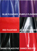 Choose from Pleather in Black, Red, Purple, Blue or Purple Python. And PVC in Red or Black. Other colors may be special ordered, if available.