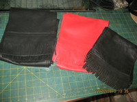 Beautiful Leather Scarves made from one piece of high grade leather whenever possible. Fringe made from same hide for perfect match.