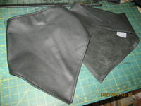 Leather Biker Scarf with Velcro Closure, in Black, Red and possibly other colors.