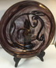 Blown Glass Recessed Plate with Golden Copper Swirls (Shown on a stand, not included)