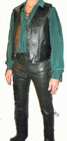 Extra Long Pirate Shirt in Forest Green Peachskin with Fancy Cuff Buttons and Black Lace-up V-Neck. Vest and Pants sold separately.