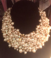 Gorgeous Pearl and Crystal Statement Necklace with Silver Colored  Findings.