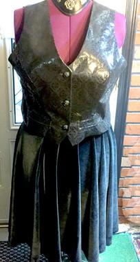 Stretch Velvet Swing Skirt in Black. Also in other colors of velvet. Renaissance Leather Vest sold separately.