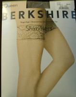 Berkshire 1340 Nude Deluxe Lace Top Thigh High, Shimmering with invisible toe-  Regular and Queen Size