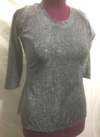 Gray/Black Lurex Scoop Neck with Bracelet Length Sleeve