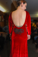 Light Cowl Neck, Low Back Stretch Velvet Gown with Beaded Applique