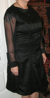 Black on Black Brocade Dress with Matching Evening Jacket