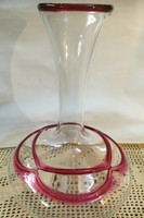 Classy Hand blown Decanter with Classic Red Line Accents