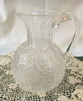 Hand blown Colonial Pitcher in Clear Crazed Glass