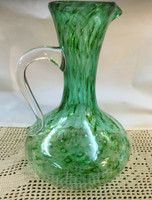 Green bubble Swirl Decanter with handle