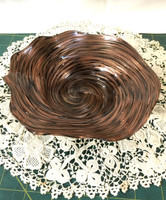 Handblown Glass Small Crinkle Bowl in Brown with Golden Swirls