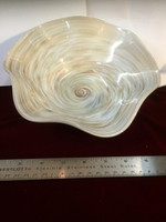 "10"" Wide, 3.5"" Deep Bowl in White and Gold"