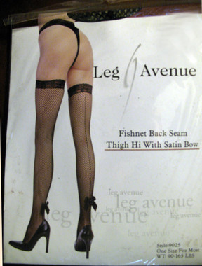 You'll be gorgeous in this Fishnet Thigh Hi with a back seam and a lovely satin bow.      One size