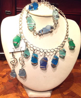 Beautiful Sea Glass Collection in Blue and Green, buy the set For $62 or the individual pieces.