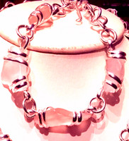 Beautiful Sea Glass Bracelet in Pink and White, measures about 9.5 inches.  (There are other matching items listed separately)
