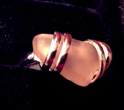 Pink Sea Glass Adjustable Ring