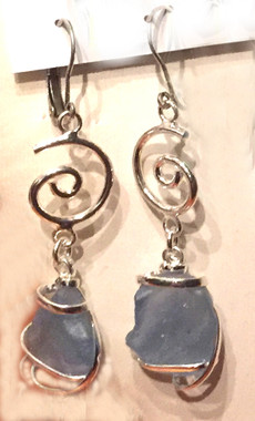 Blue Sea Glass Earrings, with European Backs so you don't lose them.