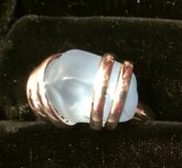 Adjustable Blue Sea Glass Ring
