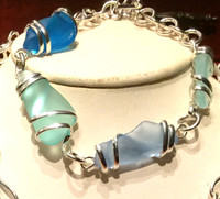 Beautiful Blue and Green Sea Glass Bracelet, about 9.5 Inches