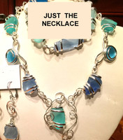 "Beautiful Blue and Green Sea Glass Necklace, about 19.5"" long"