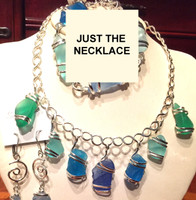 Blue and Green Sea Glass Band Necklace