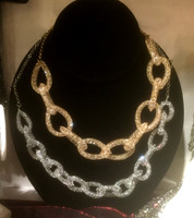 Super trendy, these Glittering Necklaces will make a subtle statement. Bracelets available to match.  Gold Silver