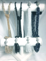 Simply Crystal Necklaces, Champagne and Black with Knot, White and Navy Multi-Strand with Magnetic Clasp