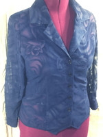 Samco Boutique Original Tuxedo blouse in navy Rose Velvet Burnout