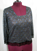 Samco Wear Bolero Blouse in Lined Sheer Fabric with Blue Spiders on a Web, with Hand Sewn beaded Fringe.. quantity limited
