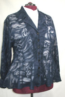 Beautiful Peplum Blouse in a Navy Rose Velvet Burnout