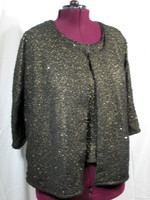 Shell and Jacket Set in Metallic Gold Pebble Knit, also available in Silver