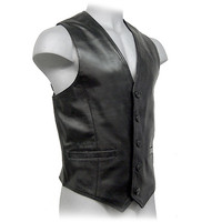 Men's Leather Button Vest