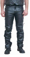 Men's Side Lace Up Leather Pants