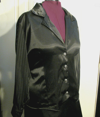 Tuxedo Blouse with Fancy Jeweled Buttons