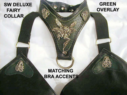 "Fancy Fairy Collar with Flourishes and a Special order Green ""Ostrich"" overlay, with Our matching Bra with Flourishes and Green Pleather on Black Pleather ( hand wash)"