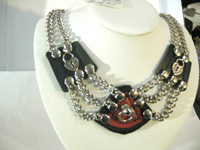 Crown Jewels Collection, with Red Leather overlay on front piece, with Post and D (slave version), and Pirate Lock Charms