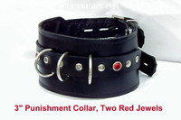 "3"" Tapered Punishment/Posture Collar with D Rings and Jewels"
