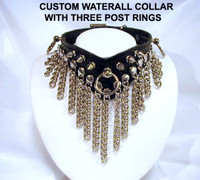 Custom Waterfall Spiked Collar with Over Sized Ring