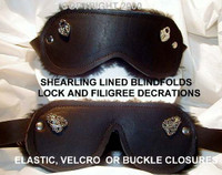 Blindfolds- Plain or Decorated- leather or fur lined, Hypoallergenic/Contact Friendly ( prices vary)