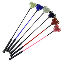 Patent Riding Crop with Studded Heart: Black or Red. In Metallics: Pink, Blue, Silver, Gold, Red, Green, Purple