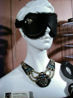 Deluxe Large Blindfold with Flourishes, Shearling lined, Velcro Back, Part of Matching Set