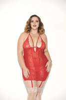 Glitter Strappy Mesh and Lace Chemise in Red, Queen, $38