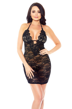 Glitter V Neck Lace Chemise - One Size, $32