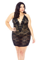 Glitter V Neck Lace Chemise - Queen Size, $36