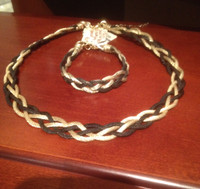 Stelios Hand Made Dark Pewter and Gold Neck Piece and Bracelet