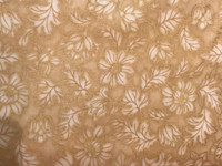 White Flowers on Tan with Metallic Gold accents