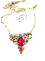 Victorian Heart Pewter Necklace-Red Stones