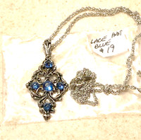 Lace Pewter Pendant with Blue Stones
