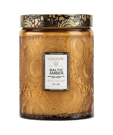 Voluspa Baltic Amber Large Embossed Jar Candle